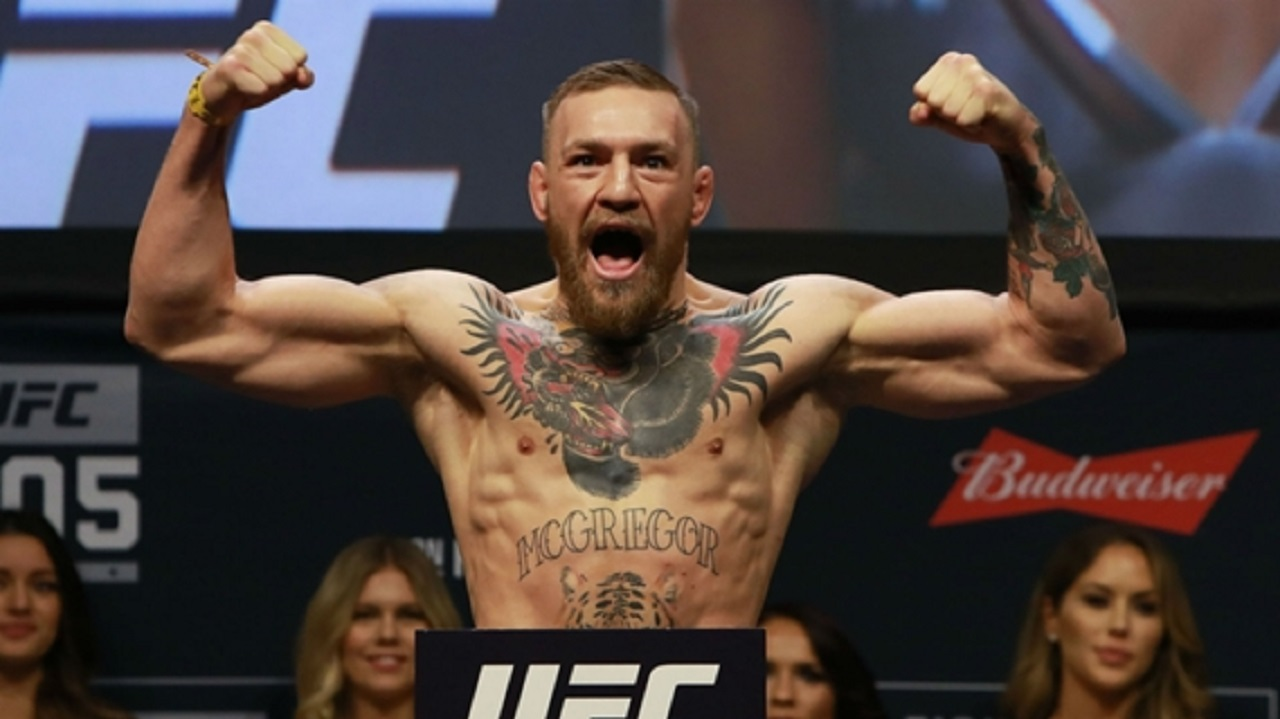 Conor McGregor at the weigh-in ahead of UFC 205.