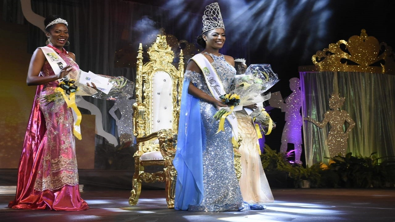 Newly crowned Miss Jamaica Festival Queen,  Ackera Gowie with first and second runner-ups, Miss Hanover Shantae Grant and Miss St James Chris-Ann Douglas. (PHOTOS: Marlon Reid)