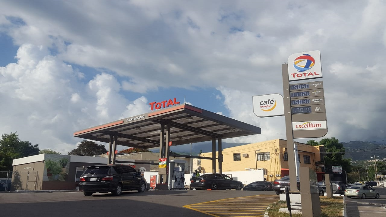 A Total gas station in St Andrew with prices displayed on an advertising board. (PHOTO: Marlon Reid)