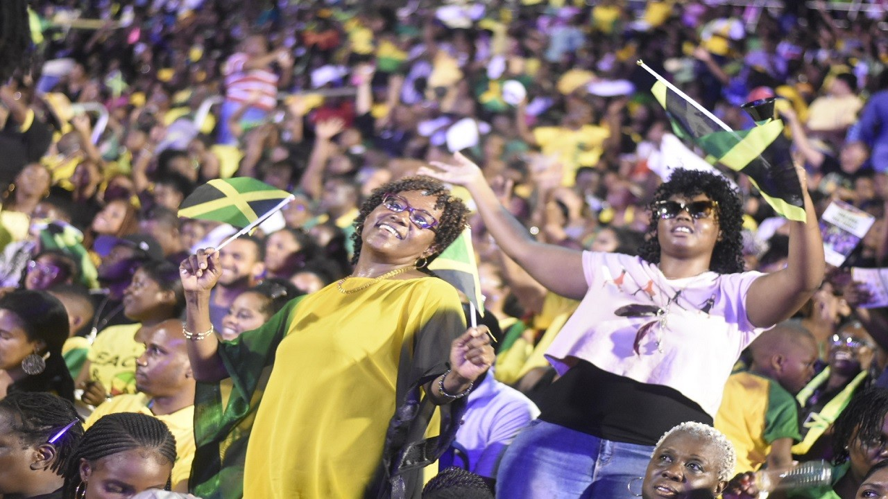 Jamaicans celebrate the island's 56th Independence Anniversary at the National Stadium in Kingston.