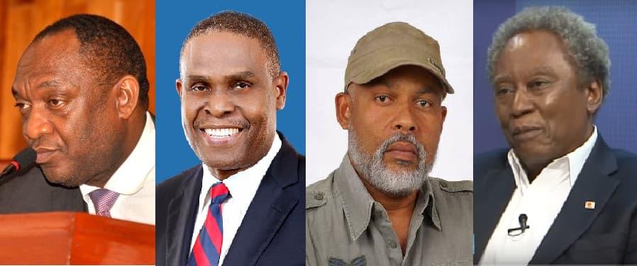 DGAD: Sénateur Youri Lartotue, PM désigné Jean-Henry Céant, Ex-candidat à la présidence Eric Jean-Baptiste, Coordonnateur du MOPOD Jean André Victor / Collage: Loop Haiti