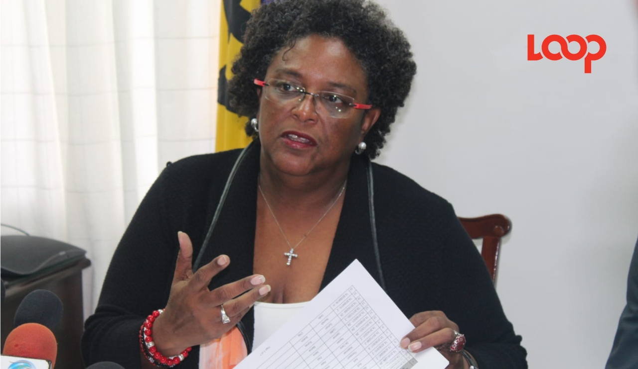 Madame Prime Minister Mia Mottley discussing the state of economic affairs