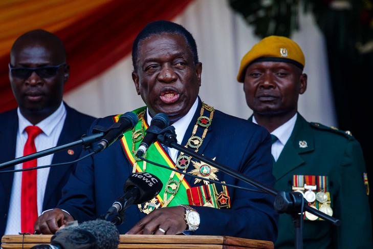 Le président du Zimbabwe Emmerson Mnangagwa à Harare, le 14 août 2018 / AFP/Archives