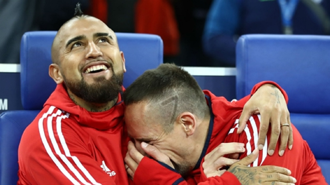 Arturo Vidal (left) and Franck Ribery during their time together at Bayern Munich.