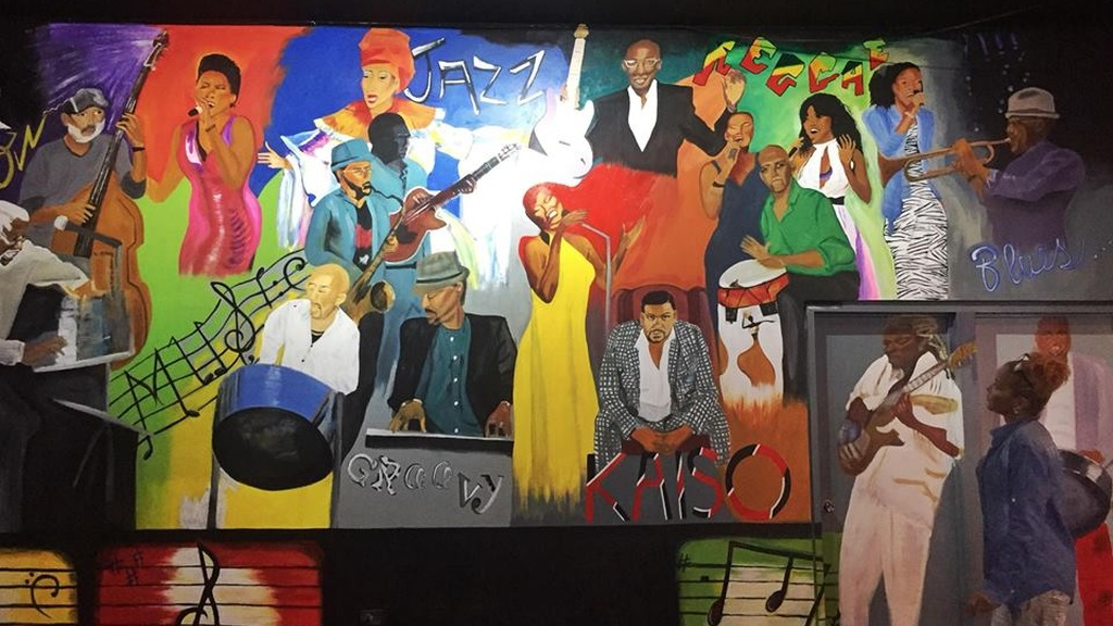 A mural in the new Kaiso Blues location.