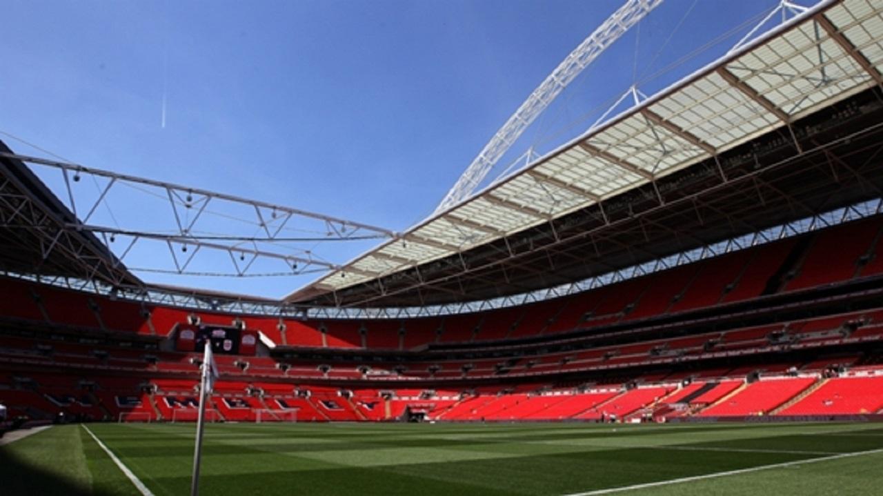 The interior of Wembley Stadium.