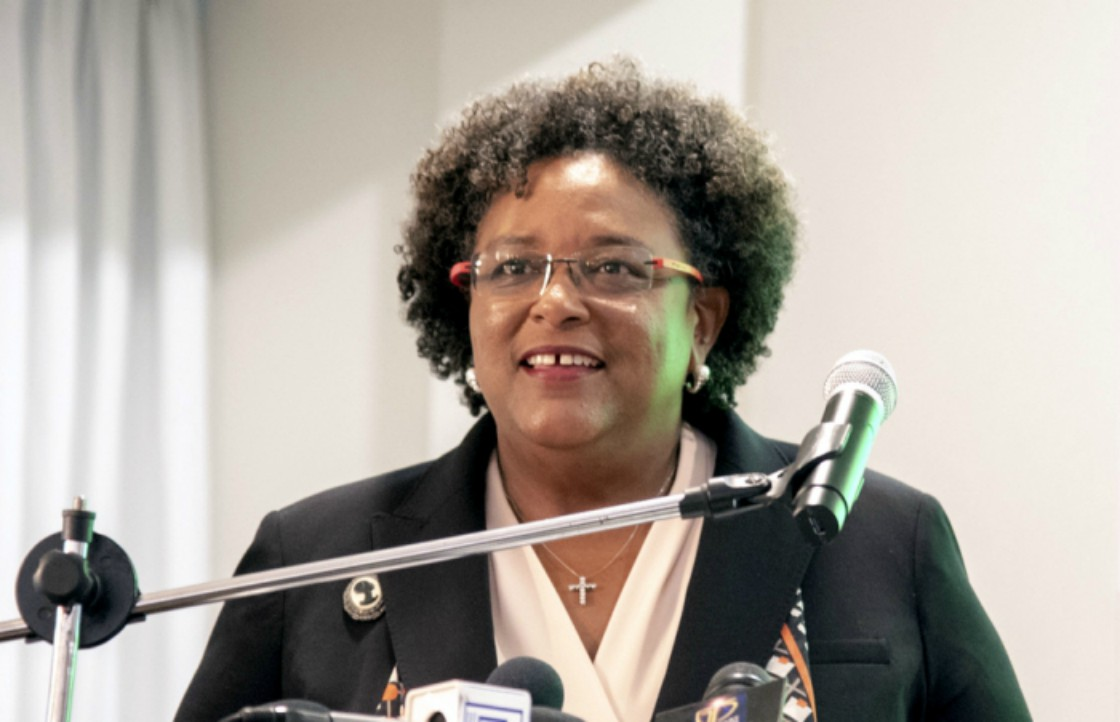 Prime Minister Mia Amor Mottley addressing the opening ceremony of the 65th Meeting of the Organisation of the Eastern Caribbean States' (OECS) Authority in St. Lucia. (GP)