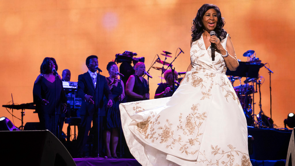 "FILE - In this April 19, 2017, file photo, Aretha Franklin performs at the world premiere of ""Clive Davis: The Soundtrack of Our Lives"" at Radio City Music Hall, during the 2017 Tribeca Film Festival, in New York. Franklin died Thursday, Aug. 16, 2018, at her home in Detroit. She was 76. (Photo by Charles Sykes/Invision/AP, File)"