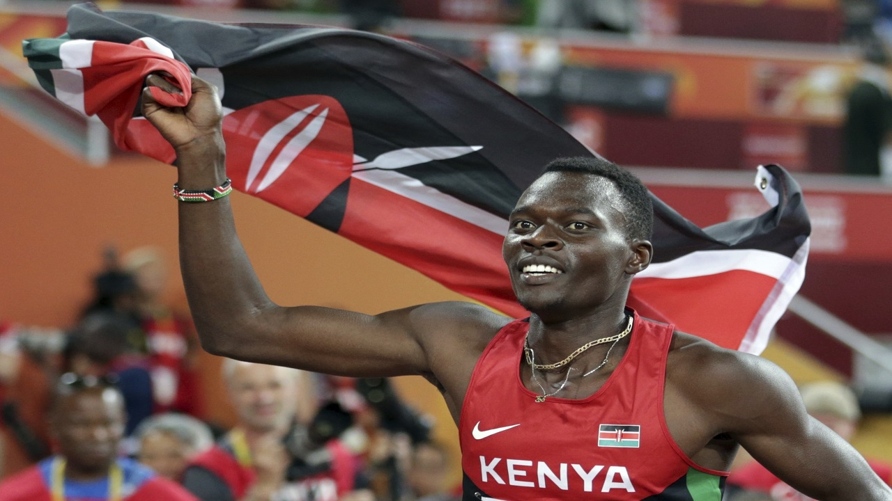 In this Tuesday, Aug. 25, 2015, file photo, Kenya's Nicholas Bett celebrates after winning the men's 400m hurdles final at the World Athletics Championships at the Bird's Nest stadium in Beijing. The ex-hurdles world champion Bett, 28, has been killed in a road accident.