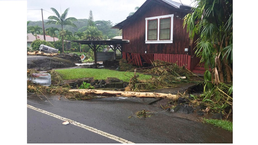 his photo provided by Jessica Henricks shows damage from Hurricane Lane Friday, Aug. 24, 2018, near Hilo, Hawaii.