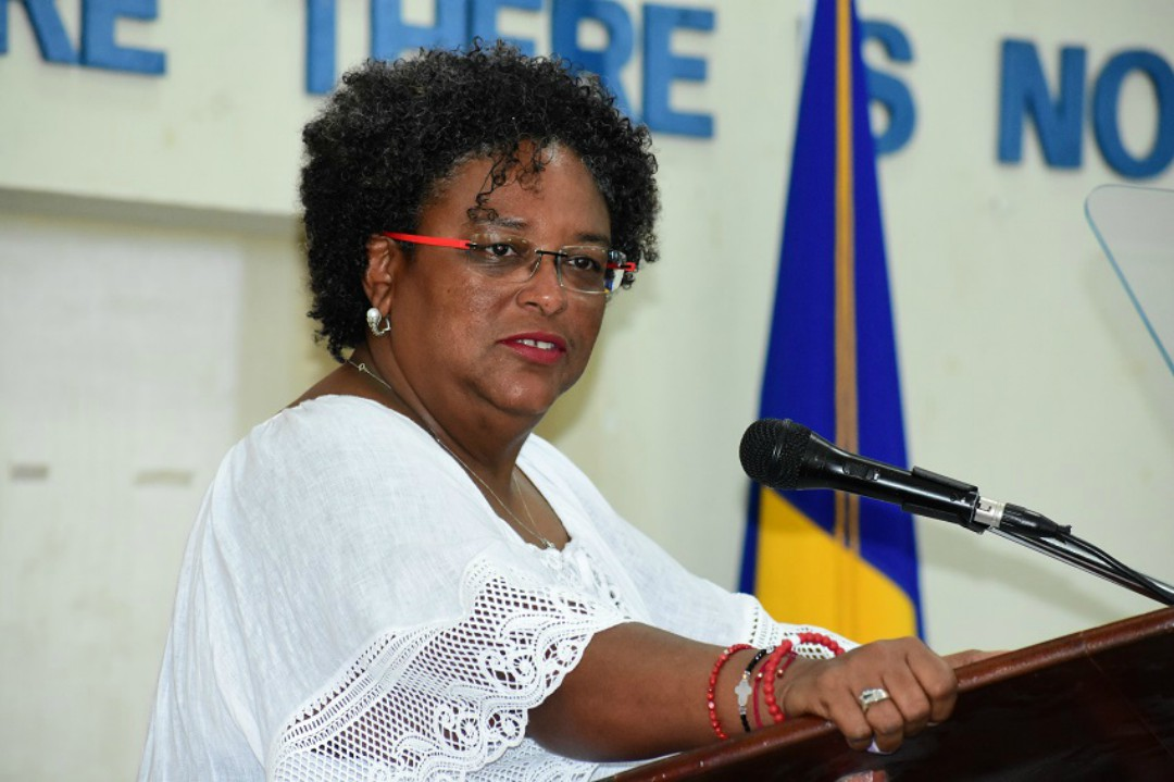 Prime Minister Mia Amor Mottley addressing the 77th Annual Barbados Worker's Union's (BWU) Delegates' Conference (Photo: Reco Moore)