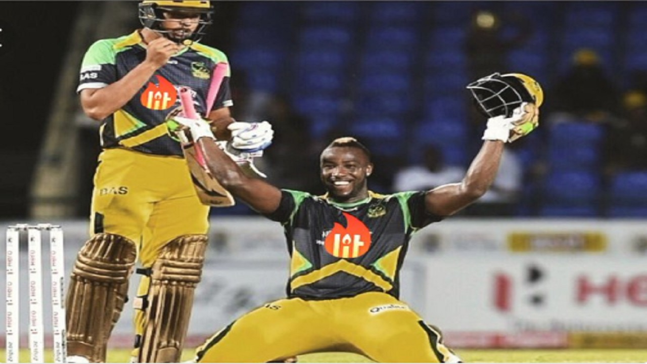 Jamaica Tallawahs captain Andre Russell celebrates his record-breaking 40-ball hundred against Trinbago Knight Riders in their opening match of the 2018 Caribbean Premier League on Saturday in Port-of-Spain.