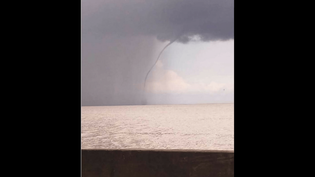 Water spout spotted in Gulf of Paria Thursday afternoon. Photo via Facebook, Trinidad and Tobago Local Weather Report.