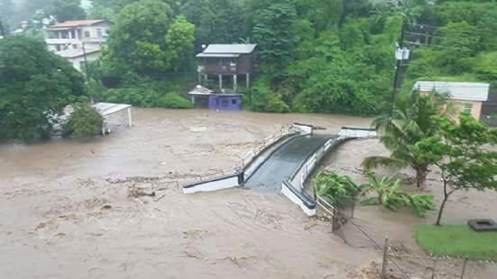 Photo: River Road in Grenada was affected by riverine and flash flooding after heavy rainfall earlier this week.