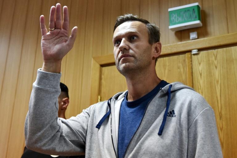 L'opposant russe Alexei Navalny pendant son procès au tribunal à Moscou, le 27 août 2018
