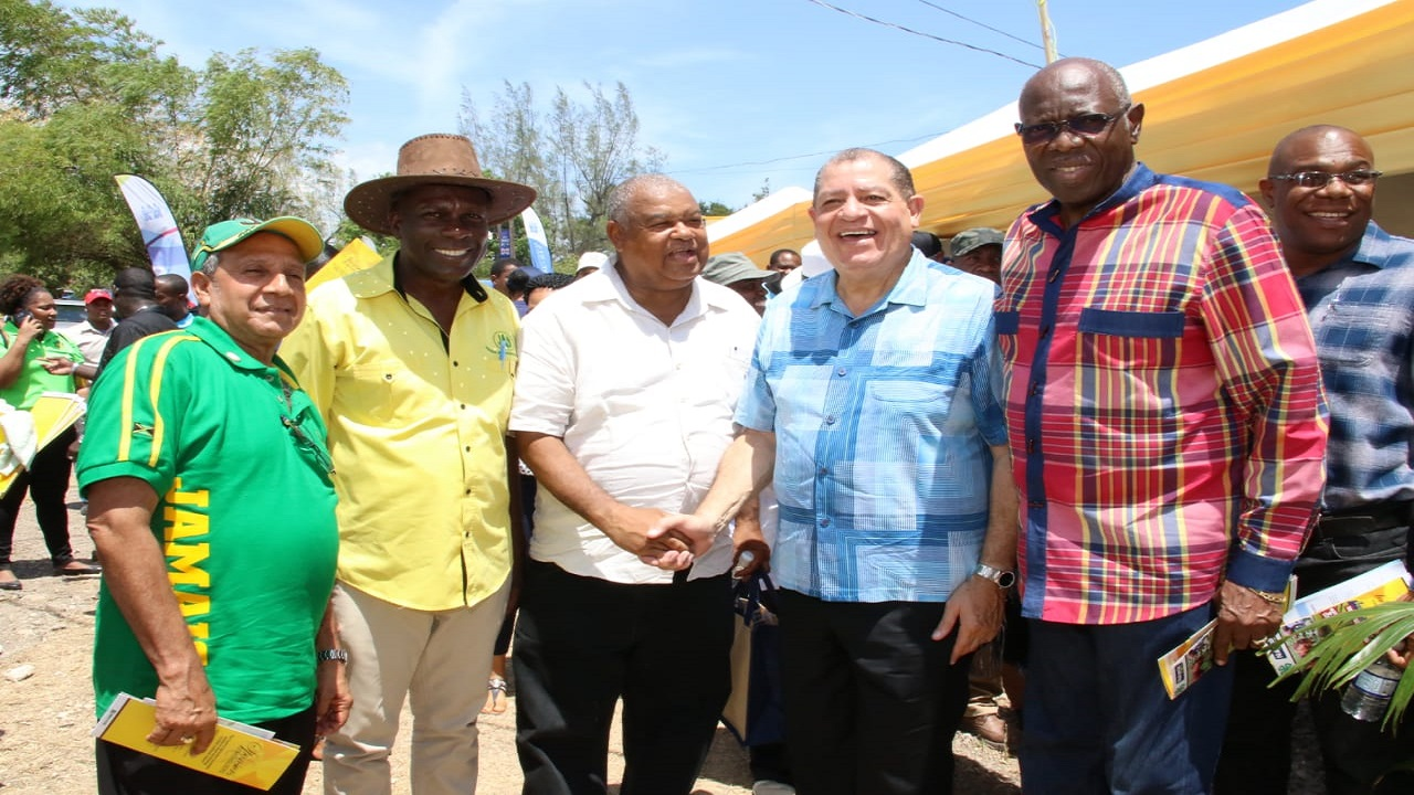 (From left) Mayor of May Pen, Councillor Winston Maragh; JAS president Norman Grant; JAS president-elect Lenworth Fulton; Agriculture Minister Audley Shaw and Opposition Spokesman Dr Fenton Ferguson at the Denbigh Agricultural, Industrial and Food Show in Clarendon on Saturday. (PHOTOS: Llewellyn Wynter)