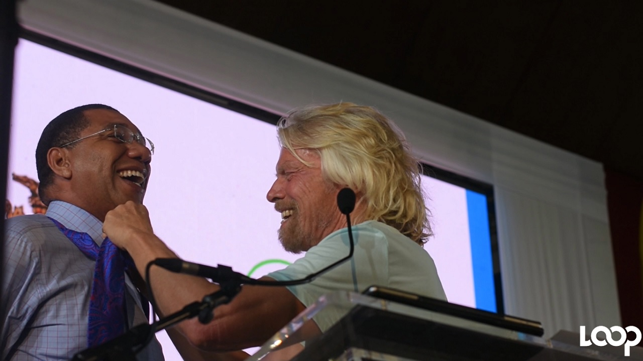 Prime Minister Andrew Holness (left) with Virgin Group boss Sir Richard Branson at the launch of the Caribbean Climate-Smart Accelerator at the Mona Campus at the University of the West Indies.