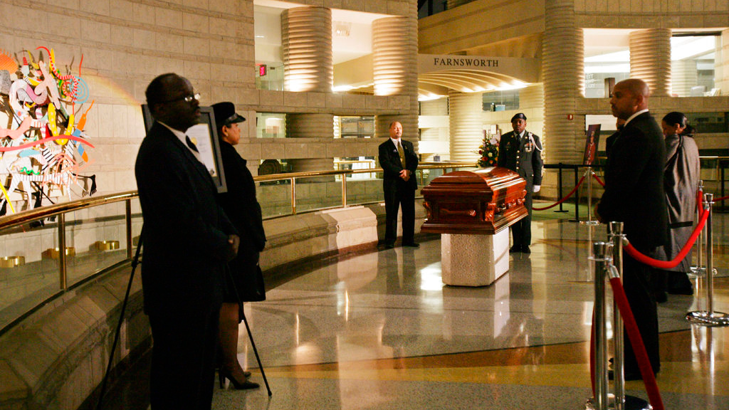 FILE-In this Oct. 31, 2005 file photo, Rosa Parks' coffin lies in the Charles H. Wright Museum of African American History in Detroit. Aretha Franklin will lie at the museum for two days before her funeral will be held at Greater Grace Temple in Detroit. (Susan Tusa/Detroit Free Press via AP, Pool)