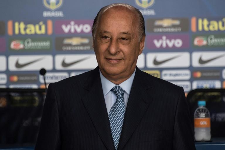 Le Brésilien Marco Polo Del Nero, président de la Confédération brésilienne de football (CBF), lors d'une conférence de presse, à Sao Paulo, le 3 mars 2017