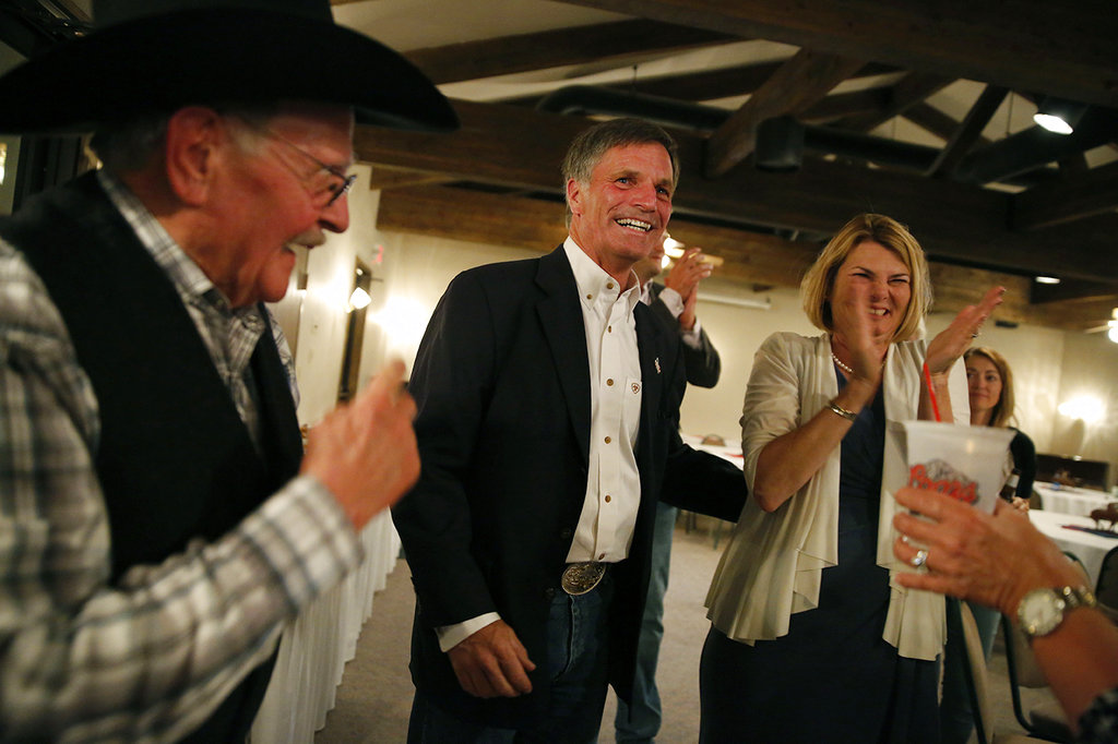Gubernatorial candidate and Wyoming Secretary of State Mark Gordon celebrates with supporters as poll numbers are finalized during Gordon's election night party at Bozeman Trail Steakhouse in Buffalo, Wyoming. (Josh Galemore/The Casper Star-Tribune via AP)