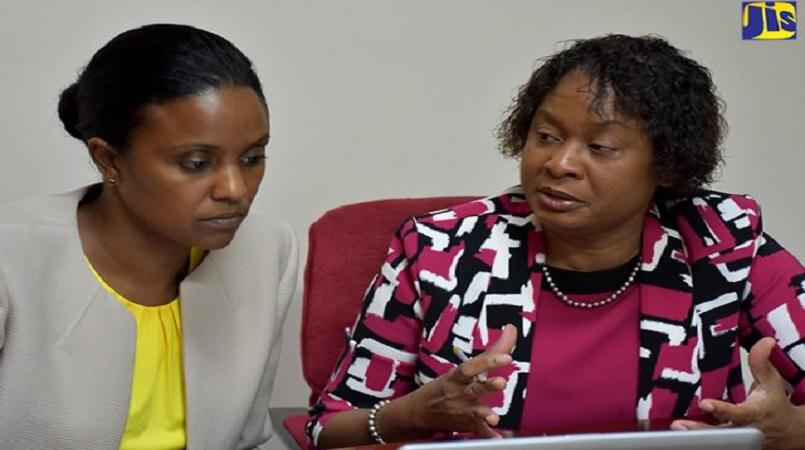 Early Childhood Commission (ECC) Chair, Trisha Williams-Singh (left), listens to Executive Director of the Commission, Karlene Degrasse-Deslandes.
