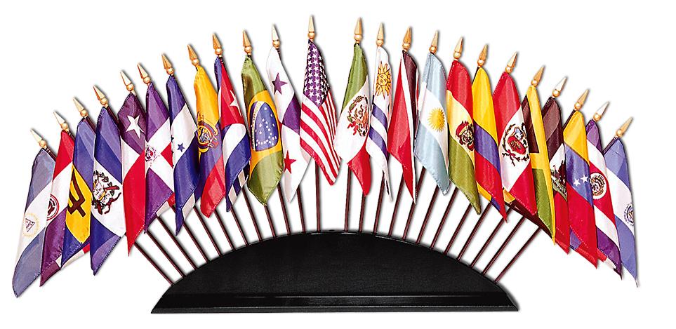 Illustration des drapeaux des Etats-partis de la CIDH / OEA