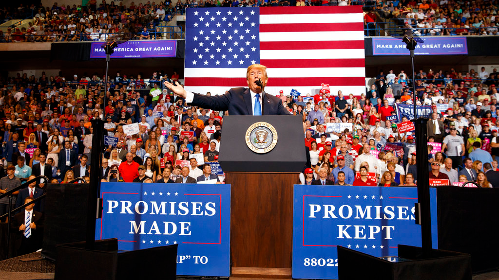 President Donald Trump speaks during a rally, Thursday, Aug. 2, 2018, at Mohegan Sun Arena at Casey Plaza in Wilkes Barre, Pa.. (AP Photo/Carolyn Kaster)
