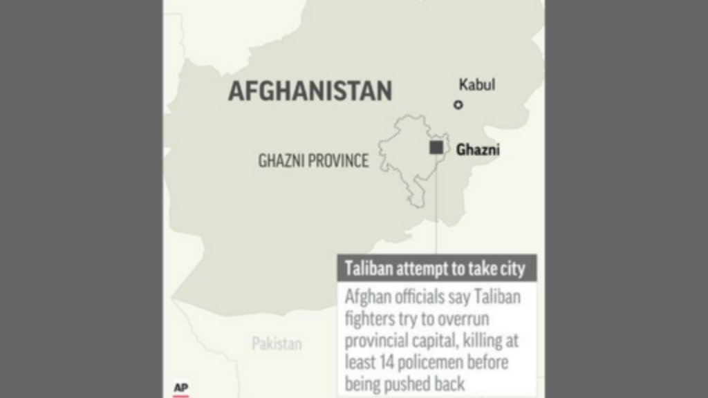 Map locates Ghazni in Afghanistan, where Taliban fighters tried to take city. Via Associated Press