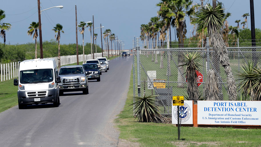 FILE - In this June 26, 2018, file photo, vehicles leave the Port Isabel Detention Center, which holds detainees of the U.S. Immigration and Customs Enforcement in Los Fresnos, Texas. The Trump administration said Sept. 6, it is abandoning a longstanding court settlement that limits how long immigrant children can be kept locked up, and it is proposing new regulations that would let the government detain families until their immigration cases are decided. (AP Photo/David J. Phillip, file)