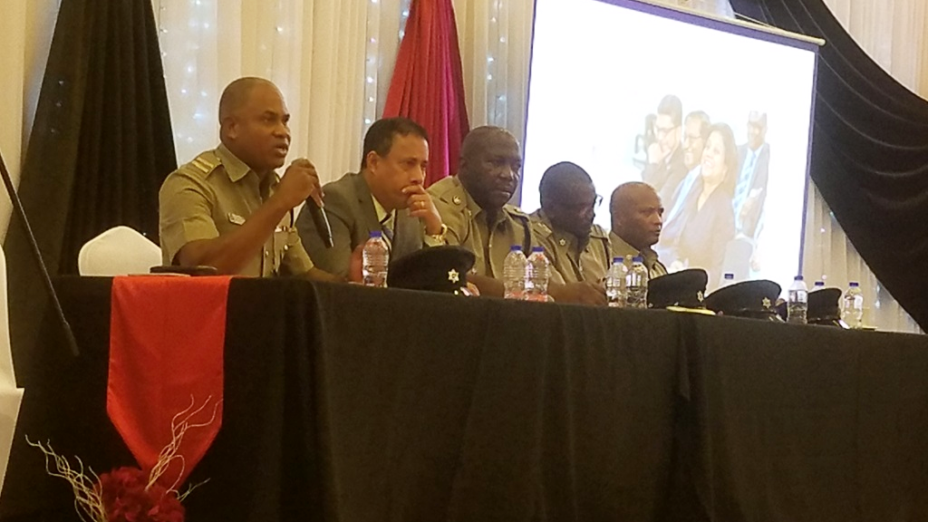 Photo: Police Commissioner Gary Griffith and senior members of the Trinidad and Tobago Police Service address members of the Chaguanas business community on September 14, 2018.
