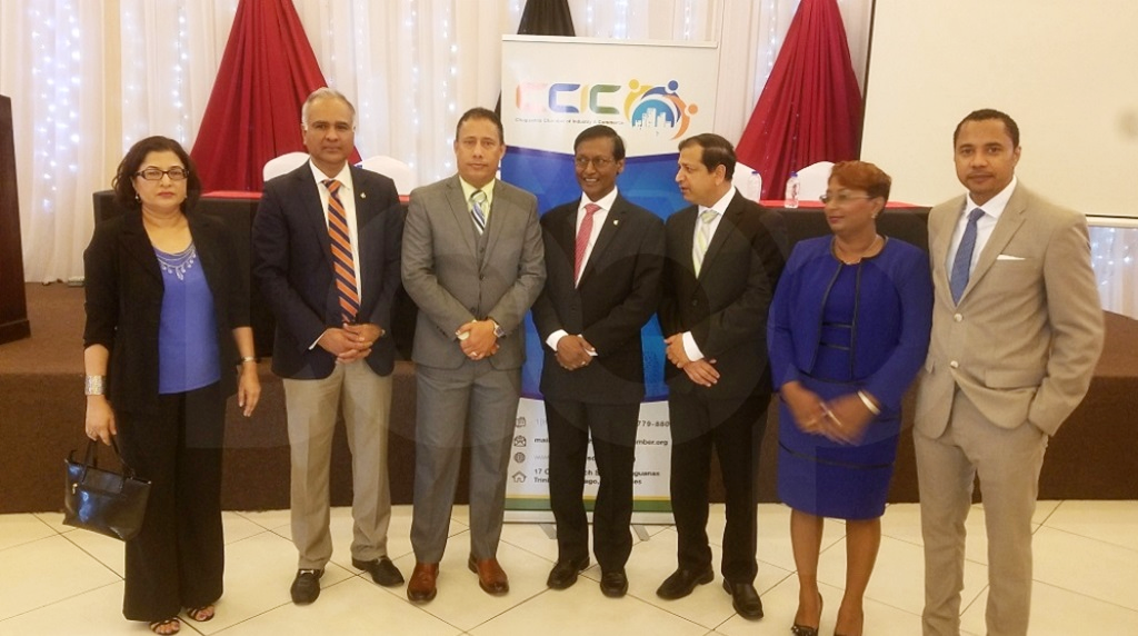 Photo: Police Commissioner Gary Griffith with president of the Chaguanas Chamber of Industry and Commerce (CCIC), Vishnu Charran, Central Beat Editor Vashty Maharaj and others at a breakfast meeting hosted by the CCIC on September 14, 2018. Photo by Alina Doodnath.