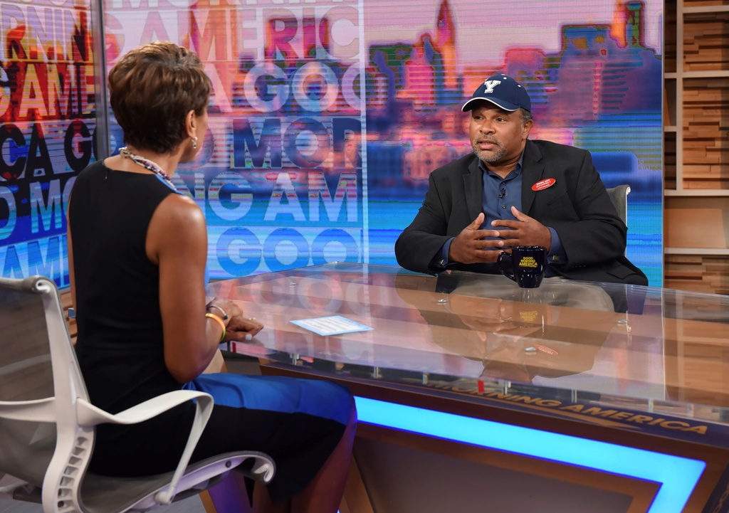 "This image released by ABC shows co-host Robin Roberts, left, with ""The Cosby Show"" actor Geoffrey Owens during an interview on ""Good Morning America,"" Tuesday, Sept. 4, 2018, in New York."