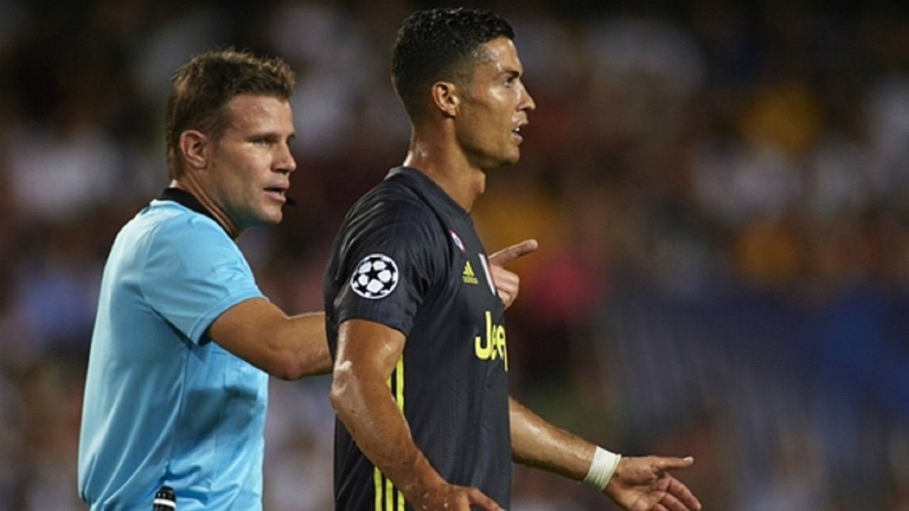 Juventus superstar Cristiano Ronaldo after being sent off against Valencia.