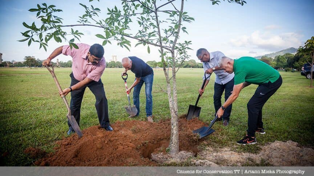 Photo: Agriculture, Lands and Fisheries Minister, Clarence Rambharat and Port of Spain Mayor, Joel Martinez helped with the planting of saplings in 2016 along with the Citizens for Conservation. Photo courtesy the CFC.