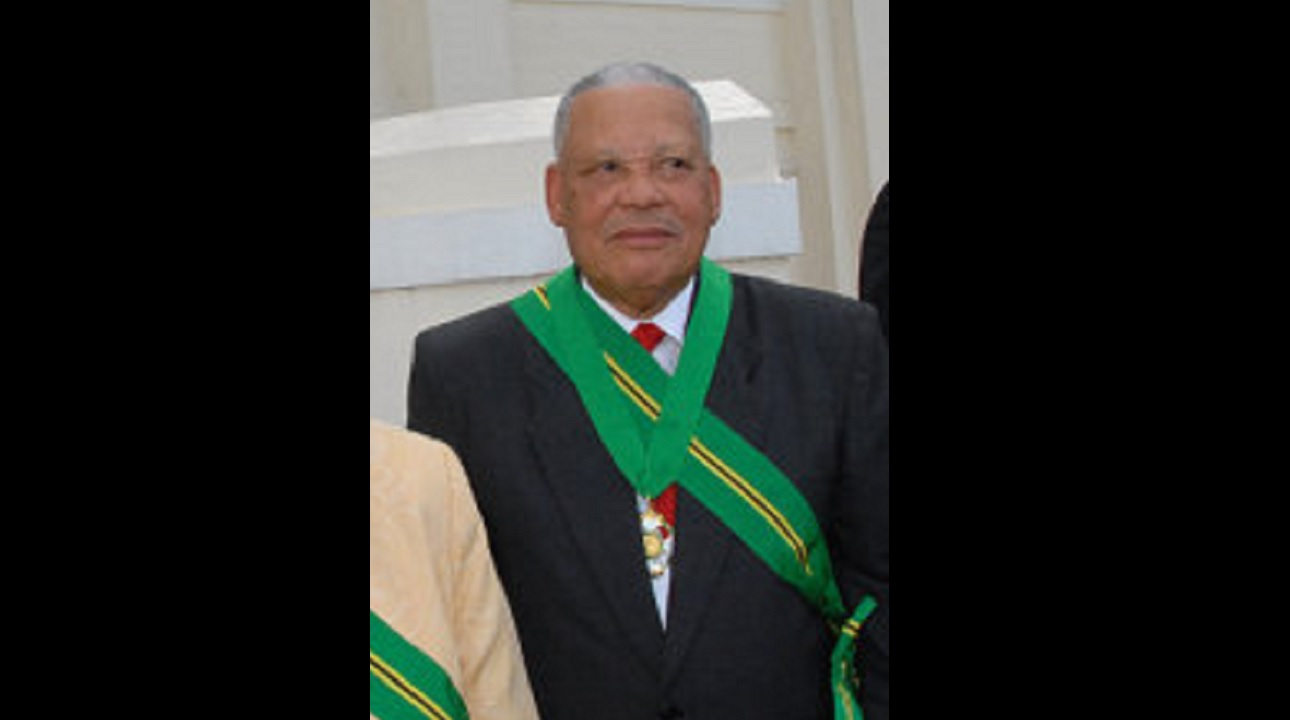 Headley Cunningham, former Speaker of the House of Representatives, after being conferred with the Order of Jamaica.