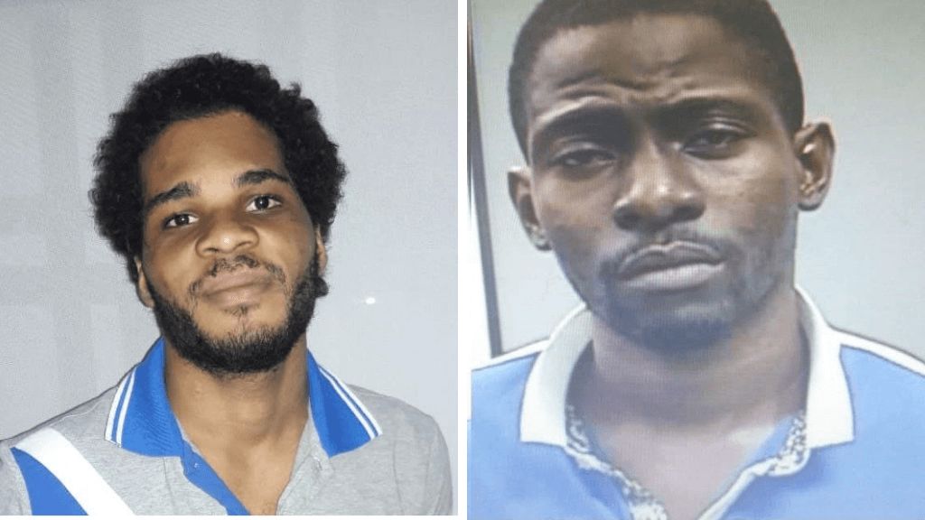 Iglesias Hernandez and Jemmel Baptiste are charged with multiple counts of obtaining money for trafficking a child. Photos via The Trinidad and Tobago Police Service (TTPS).
