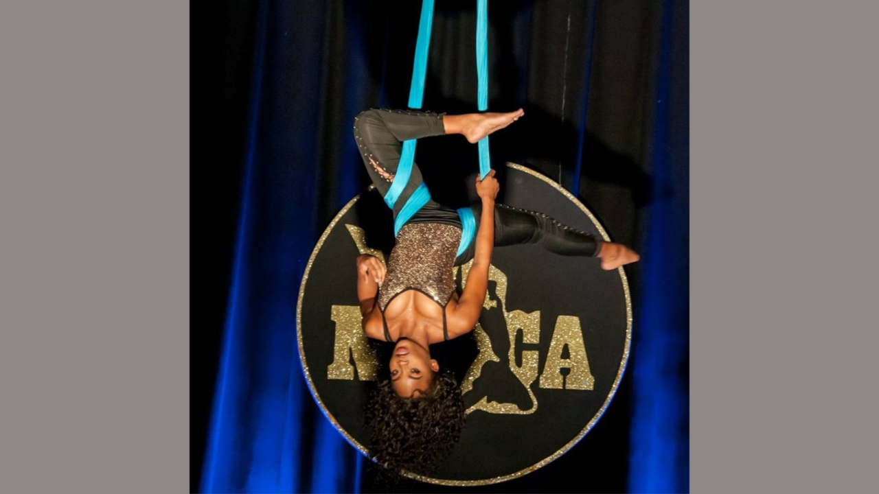 Kiah Richards made history in 2017 becoming the first to perform an aerial skills dance at NIFCA with her self-choreographed, non-professional piece RISE.