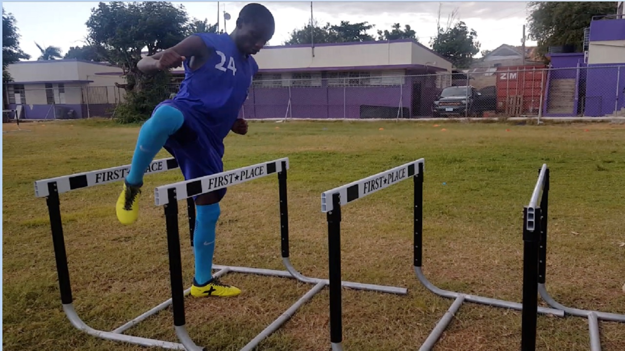 Kingston College's (KC) Ugandan track star Arymanya Rodgers at a training session ahead of the 2018 season of the Digicel Manning Cup football competition. Rodgers, who competed for KC in athletics, is in KC's Manning Cup football squad. (PHOTO: Marlon Reid).