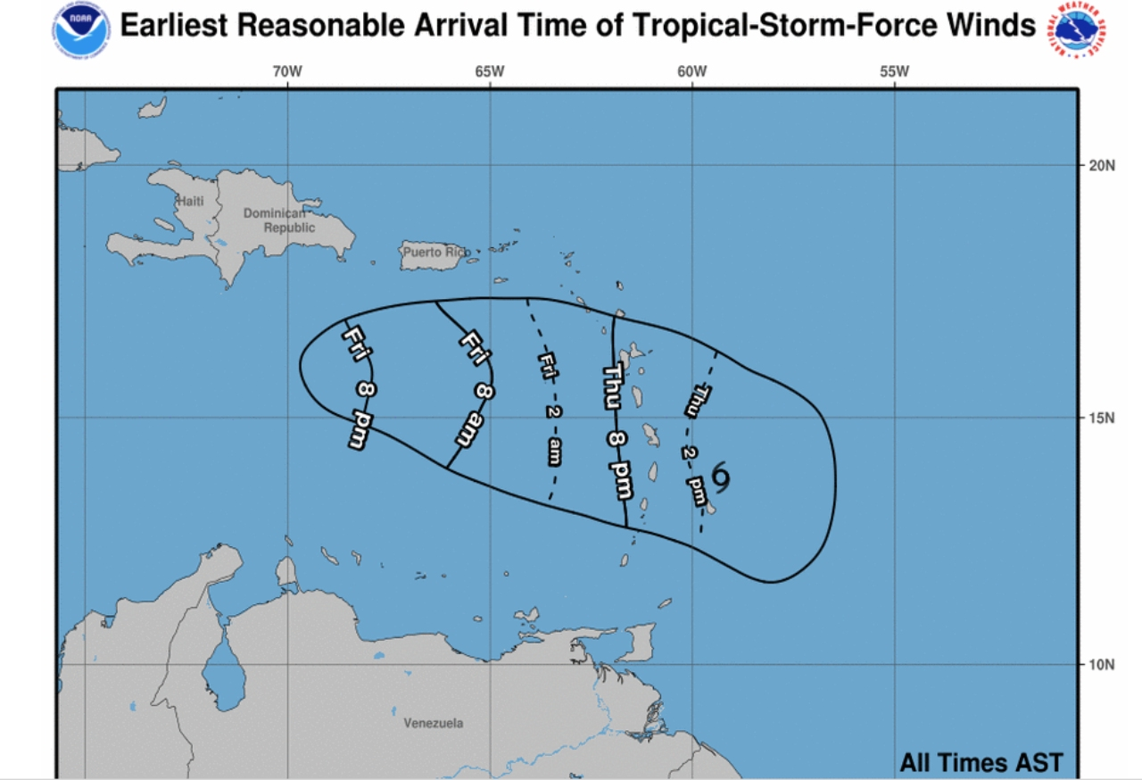 The timing graphics are created using the same Monte Carlo wind speed probability model that is currently used to determine the risk of tropical-storm- and hurricane-force winds at individual locations – a model in which 1000 plausible scenarios are constructed using the official NHC tropical cyclone forecast and its historical errors. (SOURCE: US NHC)