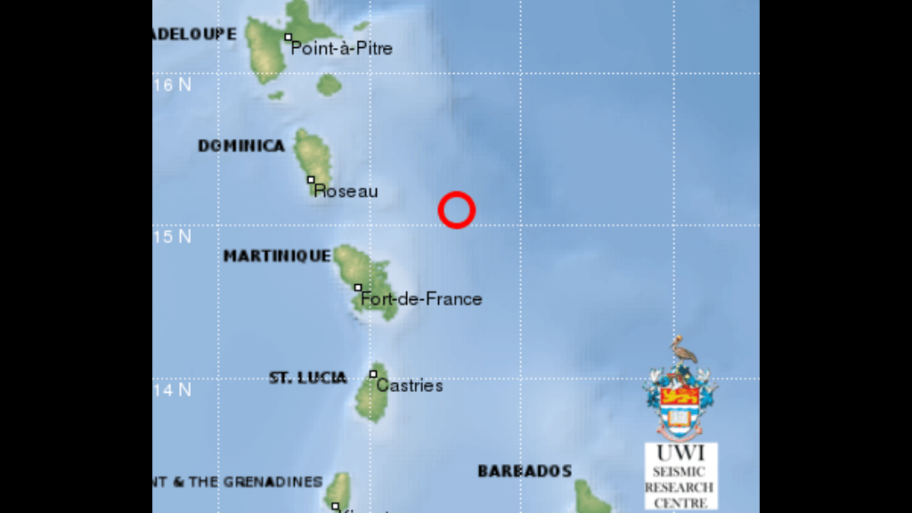A magnitude 5.6 earthquake caused tremors to be felt in Martinique, Dominica and St Lucia at 8.32 am on Friday. A magnitude 4.2 earthquake shook the three Caribbean islands just under an hour later. Image via Facebook, The UWI Seismic Research Centre (UWI SRC).