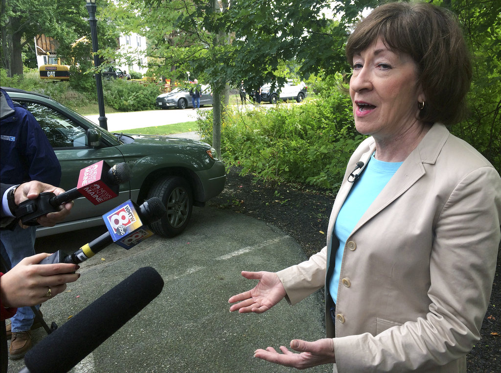 U.S. Sen. Susan Collins (R-Maine), speaks to the media in Portland, Maine. (AP Photo/Patrick Whittle)