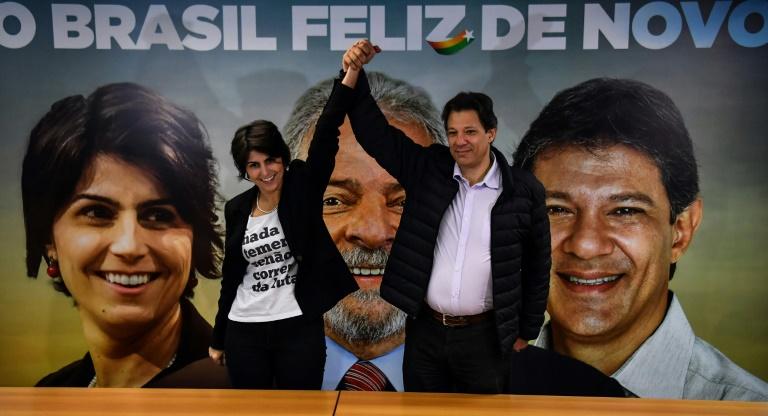 Manuela D'Avila, du Parti communiste du Brésil (PCdoB), nouvelle colistière du candidat à la présidentielle Fernando Haddad, ancien colistier de Lula, le 7 août 2018 à Sao Paulo, au Brésil