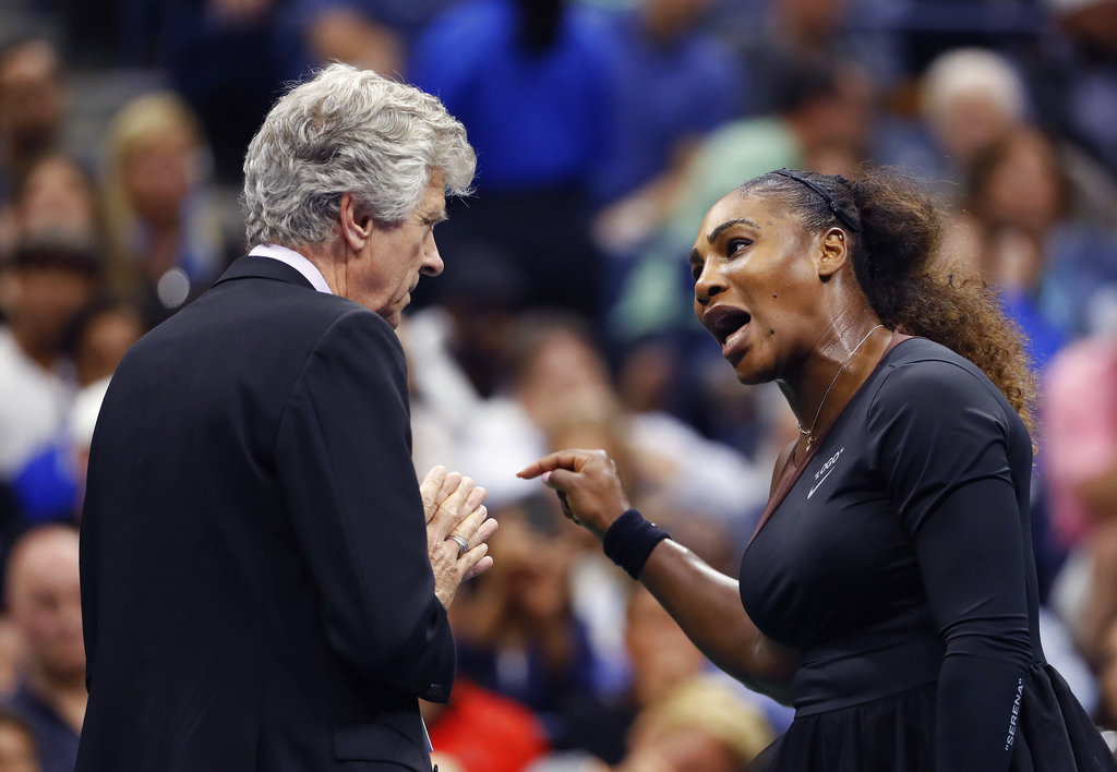 Serena Williams, right, talks with referee Brian Earley during the women's final of the U.S. Open tennis tournament against Naomi Osaka, of Japan, in New York. (AP Photo/Adam Hunger, File)