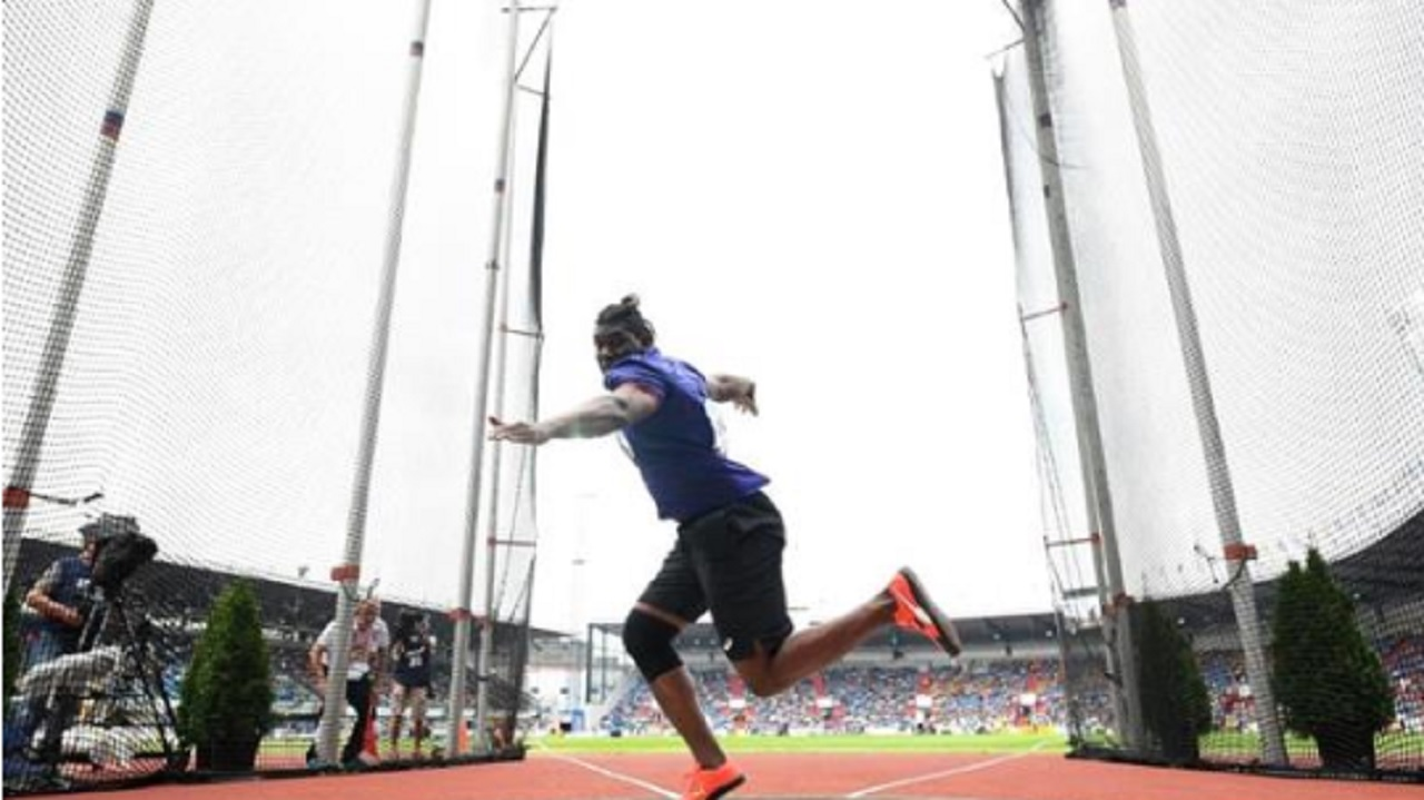 Jamaica's Fedrick Dacres competes in the men's discus at the 2018 IAAF Continental Cupin Ostrava, Czech Republic on Saturday. (PHOTO: IAAF).