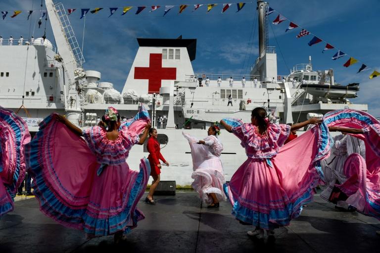 Le navire hôpital chinois Arche de la Paix arrive au port de La Guaira, le 22 septembre 2018 au Venezuela