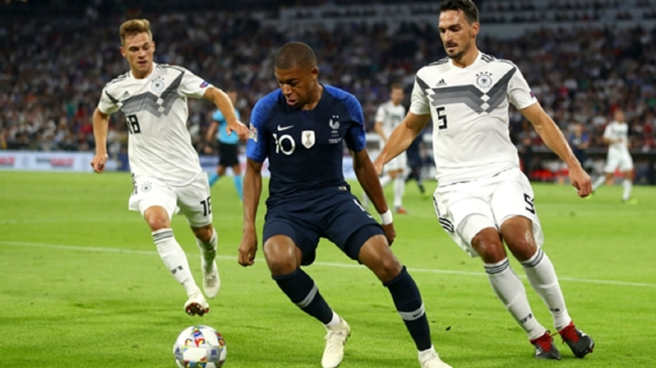 Kylian Mbappe in action against Germany.