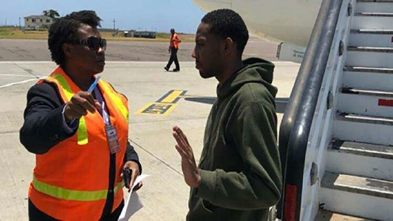 Jamaican ex-cop, Oshane, Wayne Thompson, being deported from the US recently.