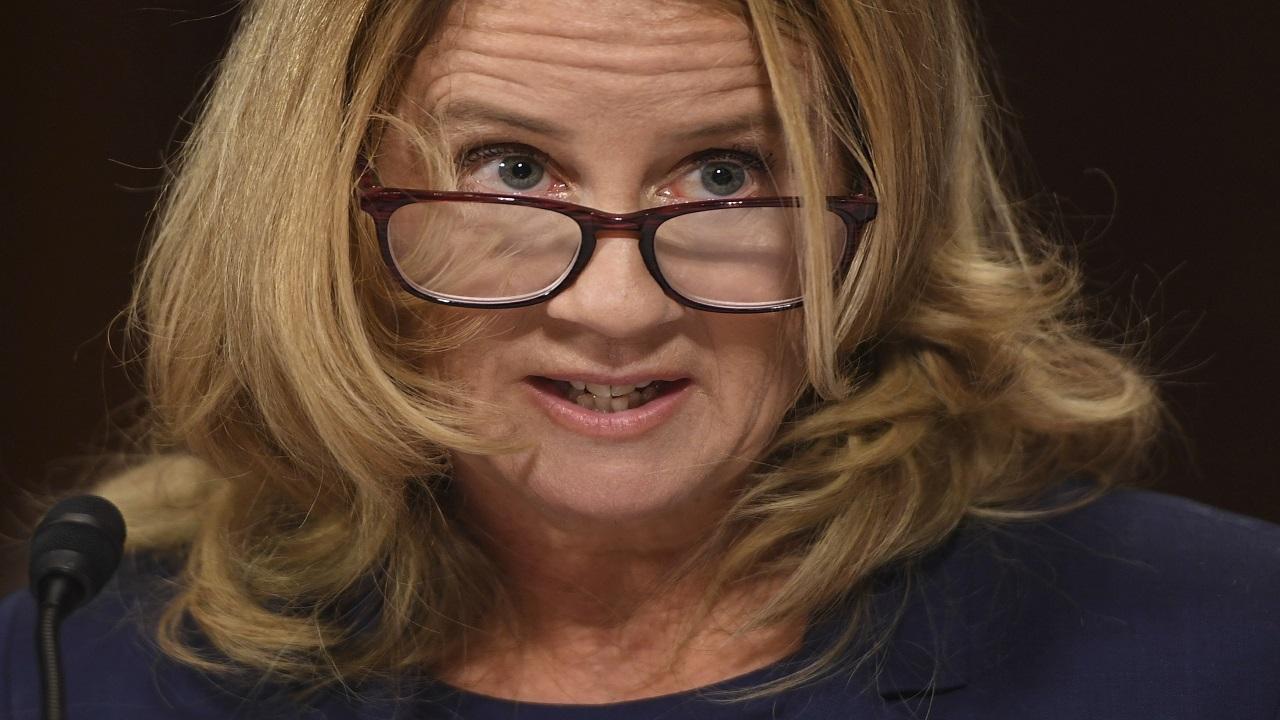 Christine Blasey Ford testifies to the Senate Judiciary Committee on Capitol Hill in Washington, Thursday, Sept. 27, 2018. (Saul Loeb/Pool Photo via AP)
