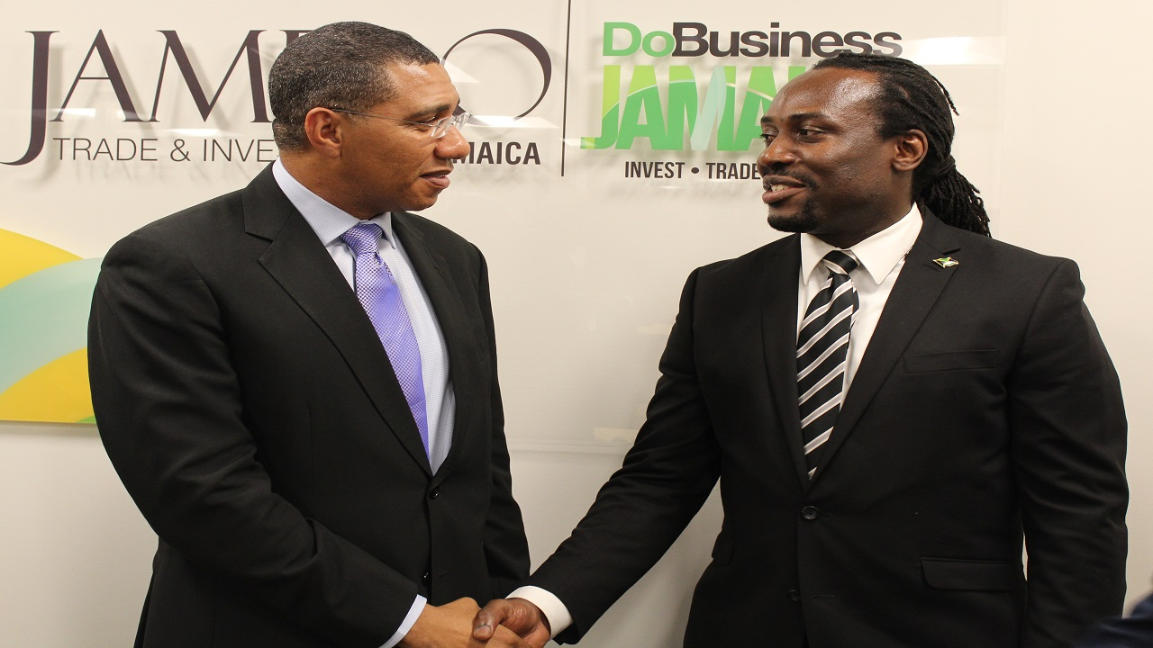 PM Holness Greets Christopher Benjamin Vice Consul Trade and Investment in the JAMPRO New York office.