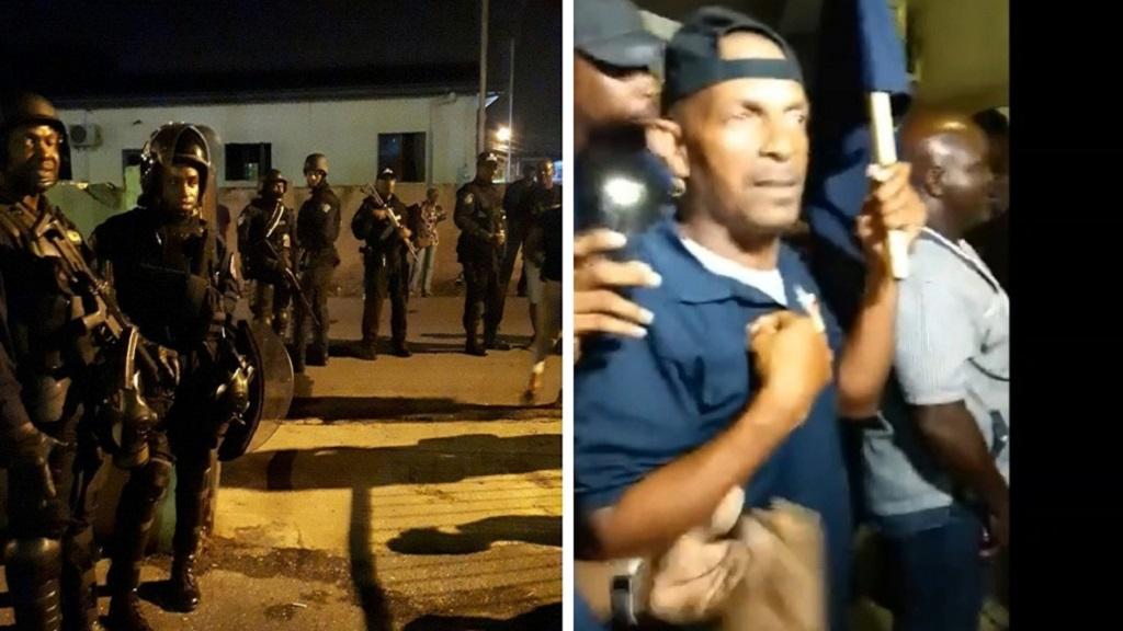 Photo: A strong police presence was visible on Tuesday night in Marabella outside of a PNM meeting where OWTU members were barred from attending. The OWTU said it will be holding its own meeting on Wednesday night where all will be welcome and no one will be turned away. Photo via Facebook.